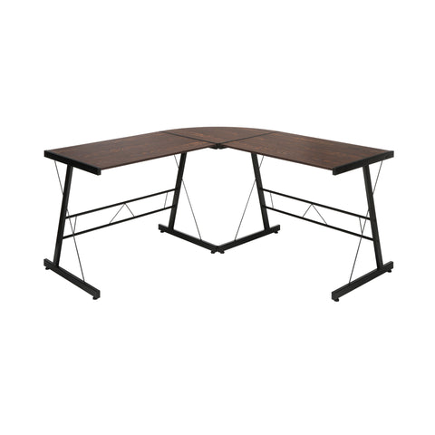 "OFM Essentials Collection 60"" Metal Frame L-Shaped Desk, Corner Computer Desk, in Wenge (ESS-1021 -BLK-WEN) ; UPC: 192767000086 ; Image 2"