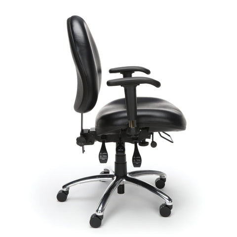OFM Model 247-VAM 24 Hour Big and Tall Ergonomic Computer Swivel Task Chair with Arms, Anti-Microbial/Anti-Bacterial Vinyl, Black ; UPC: 811588013050 ; Image 4