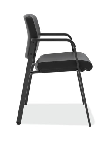 HON Validate Stacking Guest Chair | Black SofThread Leather ; UPC: 888531559804 ; Image 3