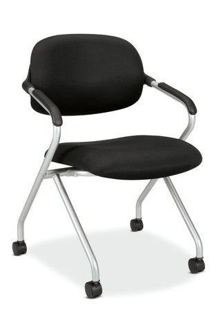 HON Floating Back Nesting Chair | Casters | Fixed Arms | Silver Frame | Black Fabric | 1 per Carton ; UPC: 791579866837 ; Image 1
