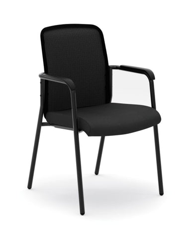 HON Instigate Mesh Back Stacking Multi-Purpose Chair | Fixed Arms | Black Fabric ; Image 1