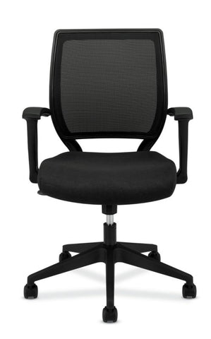 HON Mesh Mid-Back Task Chair | Center-Tilt, Tension, Lock | Fixed Arms | Black Fabric ; Image 3