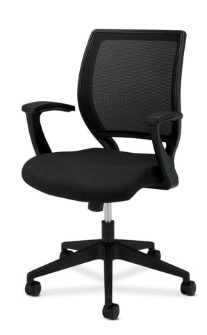 HON Mesh Mid-Back Task Chair | Center-Tilt, Tension, Lock | Fixed Arms | Black Fabric ; Image 2