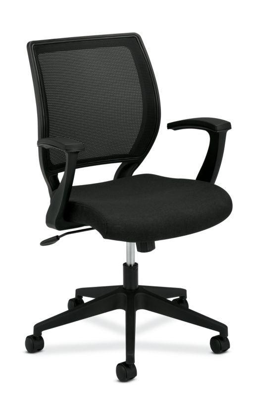HON Mesh Mid-Back Task Chair | Center-Tilt, Tension, Lock | Fixed Arms | Black Fabric ; Image 1