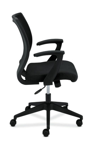HON Mesh Mid-Back Task Chair | Center-Tilt, Tension, Lock | Fixed Arms | Black Fabric ; Image 4