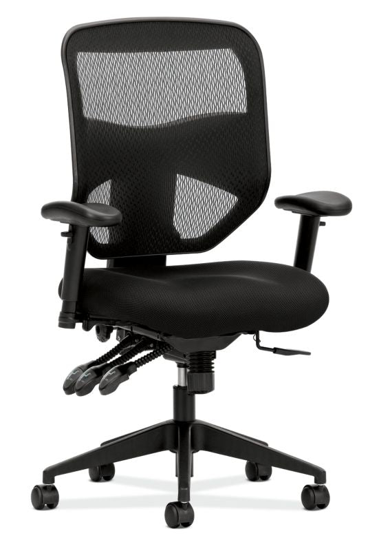 HON Prominent Mesh High-Back Task Chair | Asynchronous Control, Seat Glide | 2-Way Arms | Black Mesh ; UPC: 888852261912 ; Image 1
