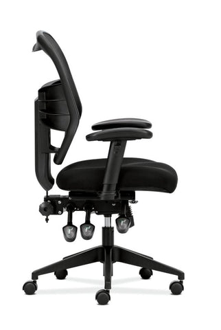 HON Prominent Mesh High-Back Task Chair | Asynchronous Control, Seat Glide | 2-Way Arms | Black Mesh ; UPC: 888852261912 ; Image 4