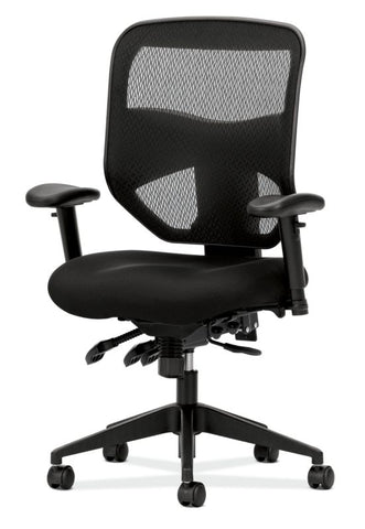 HON Prominent Mesh High-Back Task Chair | Asynchronous Control, Seat Glide | 2-Way Arms | Black Mesh ; UPC: 888852261912 ; Image 2