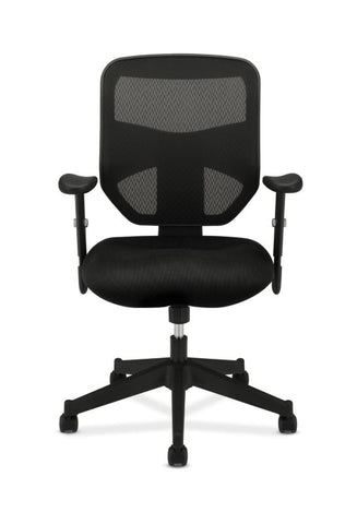 HON Prominent Mesh High-Back Task Chair | Center-Tilt, Tension, Lock | Adjustable Arms | Black Sandwich Mesh Seat ; UPC: 888206187455 ; Image 3