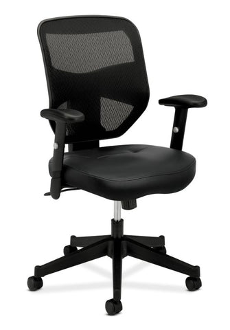 HON Prominent Mesh High-Back Task Chair | Center-Tilt, Tension, Lock | Adjustable Arms | Black SofThread Leather Seat ; UPC: 641128135009 ; Image 1