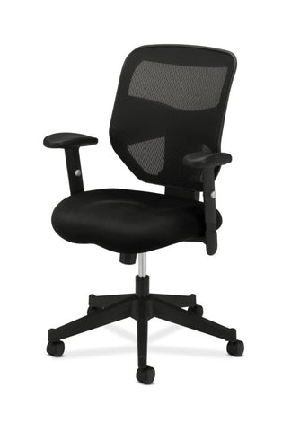 HON Prominent Mesh High-Back Task Chair | Center-Tilt, Tension, Lock | Adjustable Arms | Black Sandwich Mesh Seat ; UPC: 888206187455 ; Image 2