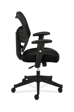 HON Prominent Mesh High-Back Task Chair | Center-Tilt, Tension, Lock | Adjustable Arms | Black Sandwich Mesh Seat ; UPC: 888206187455 ; Image 4