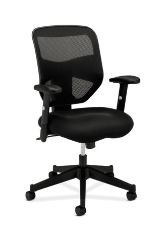 HON Prominent Mesh High-Back Task Chair | Center-Tilt, Tension, Lock | Adjustable Arms | Black Sandwich Mesh Seat ; UPC: 888206187455 ; Image 1