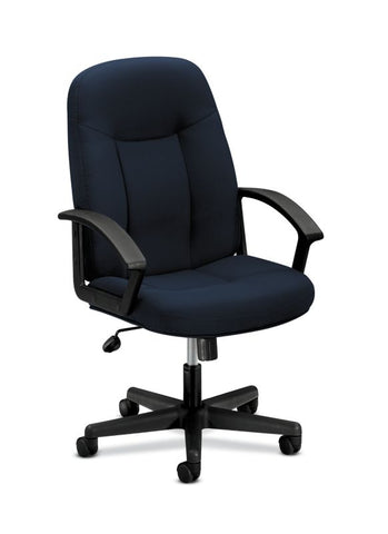 HON High-Back Executive Chair | Center-Tilt, Tension, Lock | Fixed Arms | Navy Fabric ; UPC: 645162580238 ; Image 1