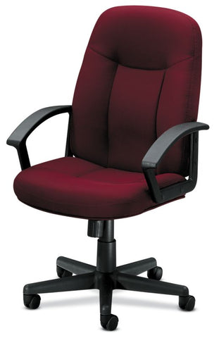 HON High-Back Executive Chair | Center-Tilt, Tension, Lock | Fixed Arms | Burgundy Fabric ; UPC: 782986172826 ; Image 5