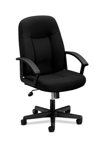 HON High-Back Executive Chair | Center-Tilt, Tension, Lock | Fixed Arms | Black Fabric ; UPC: 782986184232 ; Image 1
