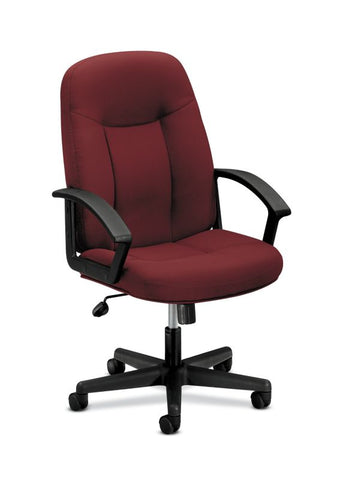 HON High-Back Executive Chair | Center-Tilt, Tension, Lock | Fixed Arms | Burgundy Fabric ; UPC: 782986172826 ; Image 1
