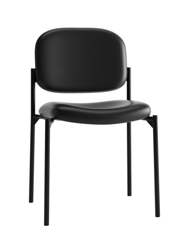 HON Scatter Stacking Guest Chair | Black SofThread Leather ; UPC: 020459576444 ; Image 1