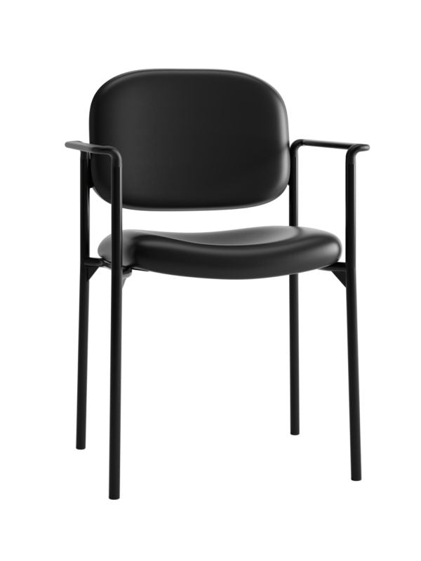 HON Scatter Stacking Guest Chair | Fixed Arms | Black SofThread Leather ; UPC: 020459547710 ; Image 1