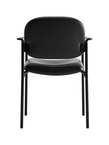 HON Scatter Stacking Guest Chair | Fixed Arms | Black SofThread Leather ; UPC: 020459547710 ; Image 5