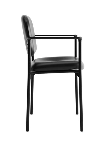 HON Scatter Stacking Guest Chair | Fixed Arms | Black SofThread Leather ; UPC: 020459547710 ; Image 3