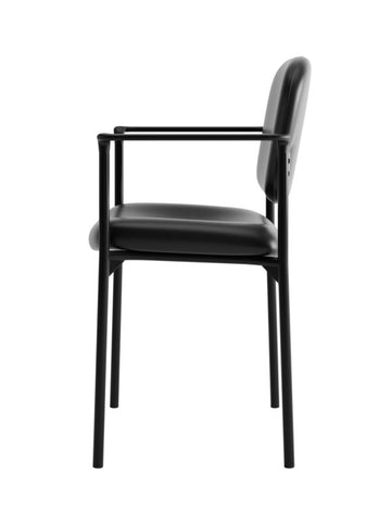 HON Scatter Stacking Guest Chair | Fixed Arms | Black SofThread Leather ; UPC: 020459547710 ; Image 4