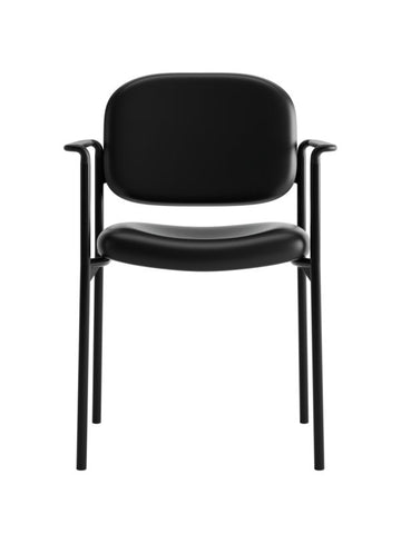 HON Scatter Stacking Guest Chair | Fixed Arms | Black SofThread Leather ; UPC: 020459547710 ; Image 2