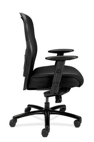 HON Wave Mesh Big and Tall Executive Chair | Knee-Tilt, Tension, Lock | Adjustable Arms | Black Mesh Back | Black Fabric Seat ; UPC: 089191318453 ; Image 4