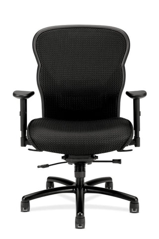 HON Wave Mesh Big and Tall Executive Chair | Knee-Tilt, Tension, Lock | Adjustable Arms | Black Mesh Back | Black Fabric Seat ; UPC: 089191318453 ; Image 3