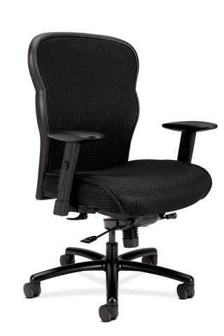 HON Wave Mesh Big and Tall Executive Chair | Knee-Tilt, Tension, Lock | Adjustable Arms | Black Mesh Back | Black Fabric Seat ; UPC: 089191318453 ; Image 1