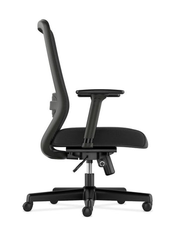 HON Exposure Mesh High-Back Task Chair | Synchro-Tilt, Lumbar, Seat Glide | 2-Way Arms | Black Fabric ; UPC: 089192828968 ; Image 4