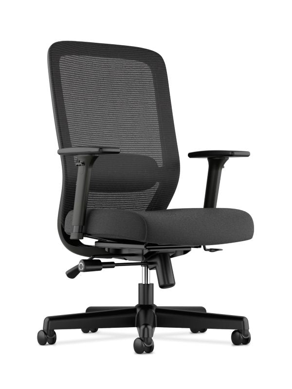 HON Exposure Mesh High-Back Task Chair | Synchro-Tilt, Lumbar, Seat Glide | 2-Way Arms | Black Fabric ; UPC: 089192828968 ; Image 1