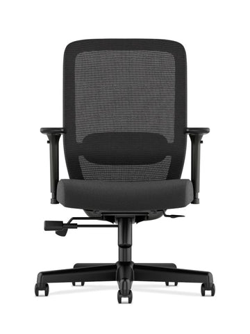HON Exposure Mesh High-Back Task Chair | Synchro-Tilt, Lumbar, Seat Glide | 2-Way Arms | Black Fabric ; UPC: 089192828968 ; Image 3