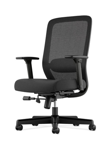 HON Exposure Mesh High-Back Task Chair | Synchro-Tilt, Lumbar, Seat Glide | 2-Way Arms | Black Fabric ; UPC: 089192828968 ; Image 2