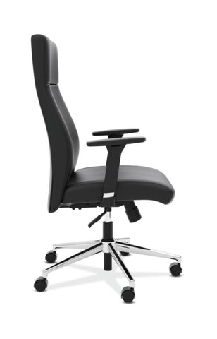 HON Define High-Back Executive Chair | Synchro-Tilt, Tension, Lock | Adjustable Arms | Black SofThread Leather ; UPC: 631530600356 ; Image 3