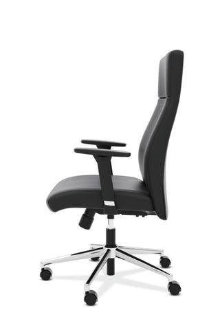 HON Define High-Back Executive Chair | Synchro-Tilt, Tension, Lock | Adjustable Arms | Black SofThread Leather ; UPC: 631530600356 ; Image 4
