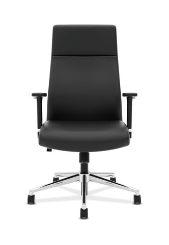 HON Define High-Back Executive Chair | Synchro-Tilt, Tension, Lock | Adjustable Arms | Black SofThread Leather ; UPC: 631530600356 ; Image 2