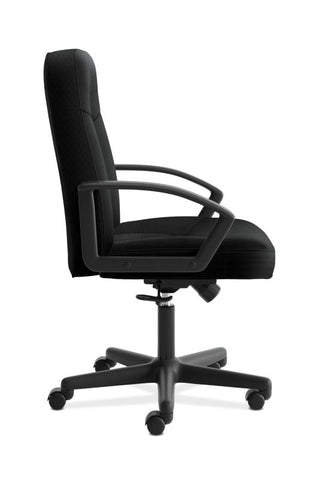 HON High-Back Executive Chair | Center-Tilt, Tension, Lock | Fixed Arms | Black Fabric ; UPC: 782986184232 ; Image 3