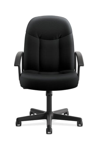HON High-Back Executive Chair | Center-Tilt, Tension, Lock | Fixed Arms | Black Fabric ; UPC: 782986184232 ; Image 2