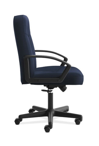 HON High-Back Executive Chair | Center-Tilt, Tension, Lock | Fixed Arms | Navy Fabric ; UPC: 645162580238 ; Image 3