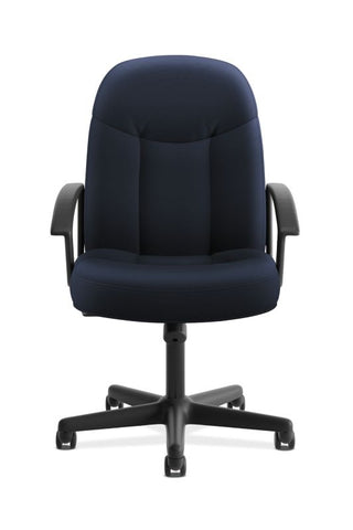 HON High-Back Executive Chair | Center-Tilt, Tension, Lock | Fixed Arms | Navy Fabric ; UPC: 645162580238 ; Image 2