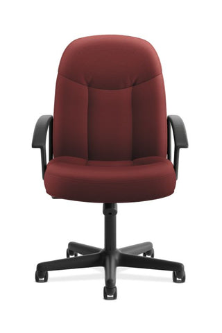HON High-Back Executive Chair | Center-Tilt, Tension, Lock | Fixed Arms | Burgundy Fabric ; UPC: 782986172826 ; Image 2