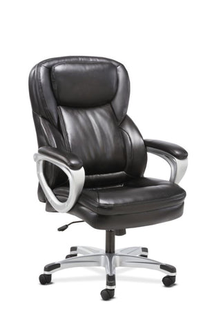 HON Executive Chair | Fixed Arms | Black Leather ; UPC: 191734204281 ; Image 1