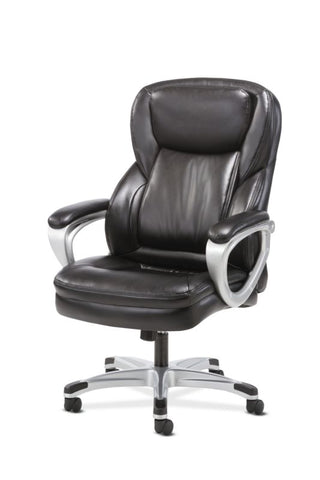 HON Executive Chair | Fixed Arms | Black Leather ; UPC: 191734204281 ; Image 2