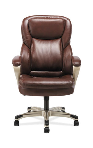 HON Executive Chair | Fixed Arms | Brown Leather ; Image 2