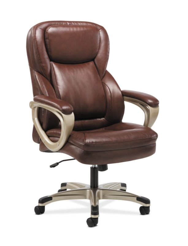 HON Executive Chair | Fixed Arms | Brown Leather ; Image 1
