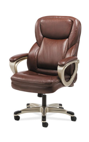 HON Executive Chair | Fixed Arms | Brown Leather ; Image 5