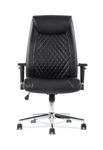HON Executive Chair | Height-Adjustable Arms | Black Leather | Chrome Accents ; UPC: 641128199155 ; Image 3