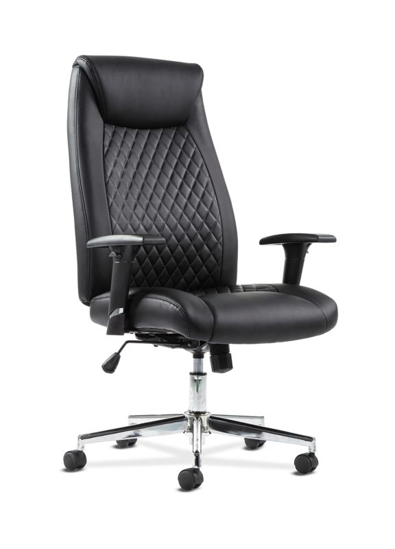 HON Executive Chair | Height-Adjustable Arms | Black Leather | Chrome Accents ; UPC: 641128199155 ; Image 1