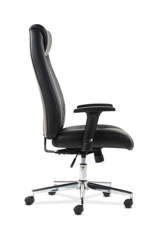 HON Executive Chair | Height-Adjustable Arms | Black Leather | Chrome Accents ; UPC: 641128199155 ; Image 4